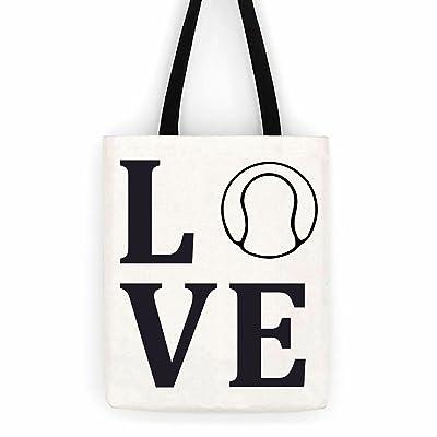 Love Tennis Cotton Canvas Tote Sport Bag Day Trip Bag