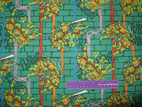 TMNT Teenage Mutant Ninja Turtles Sewer Pipe Cotton Fabric BY THE HALF YARD -