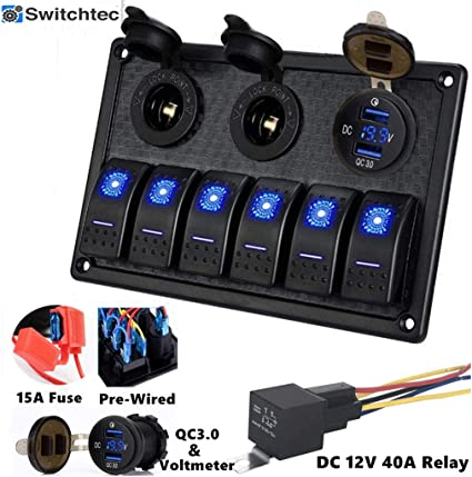 wires Fuse Voltmeter Red Waterproof Panel Mount 12V USB Charger 3.1 Amp