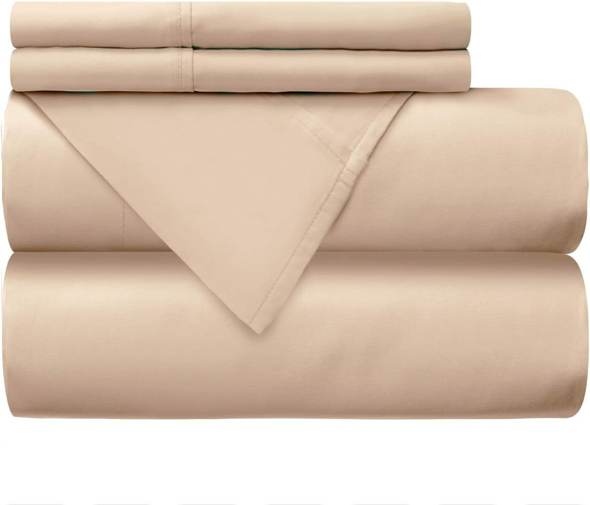 Mellanni 100% Cotton Bed Sheet Set - 300 Thread Count Percale - Deep Pocket - Quality Luxury Bedding - 4 Piece (Full, Ivory)