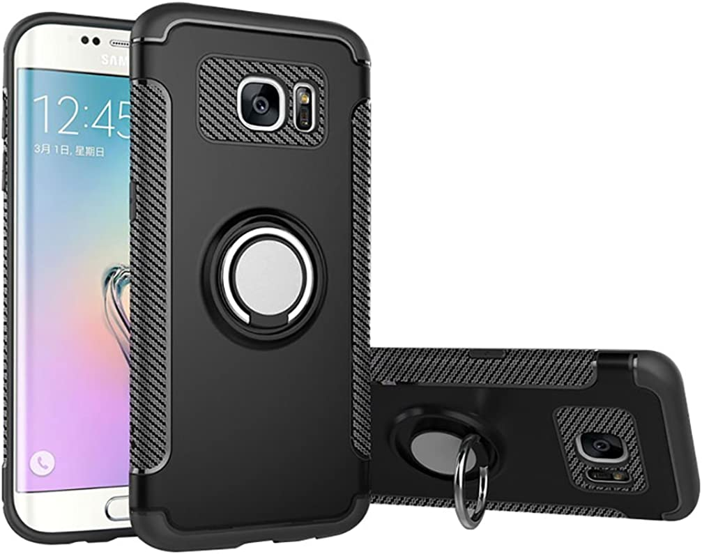 ANERNAI Galaxy S7 Case Slim Shockproof TPU+PC Magnetic 360° Rotation Ring Holder Cover for Samsung Galaxy S7