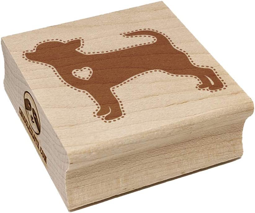 Smooth Coat Chihuahua Apple Head Dog with Heart Square Rubber Stamp for Stamping Crafting - 1.25in Small