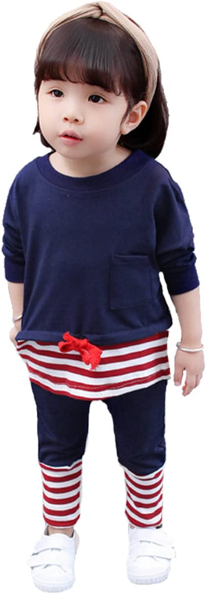 CM-Kid Little Girls Set Loose T Shirt Striped Pant Pajama Sets