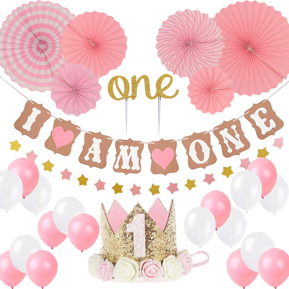 "First Birthday Girl Decoration-Baby Girl 1st Birthday Party Hat Princess Tiara Crown, Cake Topper''One'', ""I Am One""and''Stars''Banner,Pink Hanging Paper Fan Flower,Pink and white balloons"