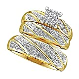 1/3 ct Highest Quality Cubic Zirconia His & Her 14k Yellow Gold Plated Alloy Princess Shape Trio Wedding Ring Set Jewelry Free Size