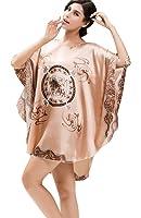 NiSeng femme pyjama en satin en vrac impression satin soyeux peignoir