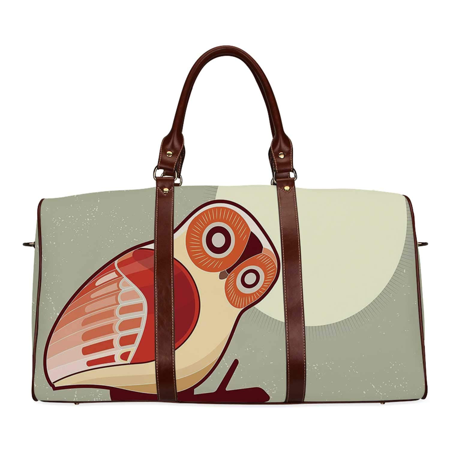 Owl Practicality Travel Bag,Full Moon Night with Nocturnal Large Eyed Animal on the Tree Branch Caricature Image Decorative for School,20.8''L x 12''W x 9.8''H by YOLIYANA