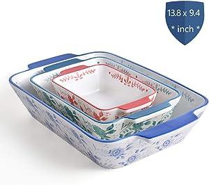 KINGSBULL HOME Baking Dish Ceramic Baking Set Baking Pans 3-pcs Bakeware Flower Lasagna Pan Stoneware Casserole Dish