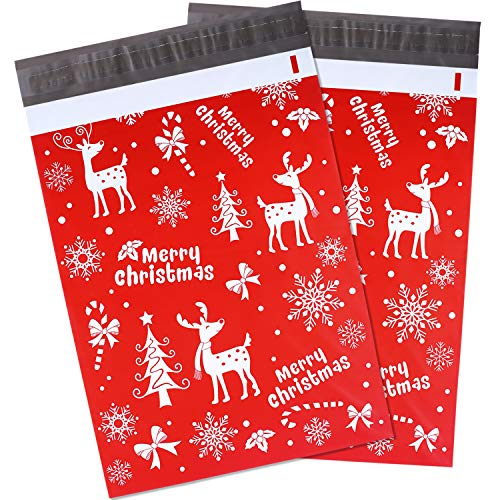 Blulu 10 x 13 Inch Winter Poly Mailers Christmas Mailers Shipping Bags with Snowflakes Holiday Self Sealing Shipping Envelopes Pack of 100 (Red)