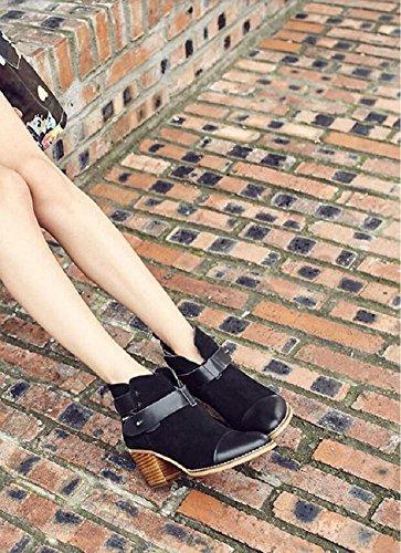 Ceinture De Personnalité Rétro Boucle Avec Raccourci De Démarrage Brut Avec Talon De Velours Nubuck Chaussures Bottines Femmes En Cuir, 39