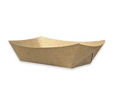 Amazon.com: Bandeja desechable de papel Kraft marrón para ...