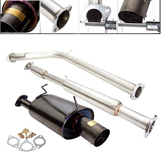 Fit 1995-1999 Mitsubishi Eclipse//Eagle Talon Engine 3 Inch Stainless Steel Catback Exhaust System 4 Inch Muffler Tip 2.0L Non-Turbo