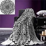 smallbeefly Mandala Digital Printing Blanket Ethnic Asian Floral Cosmos Symbol Traditional Meditation Pattern Monochrome Print Summer Quilt Comforter 80''x60'' Black White