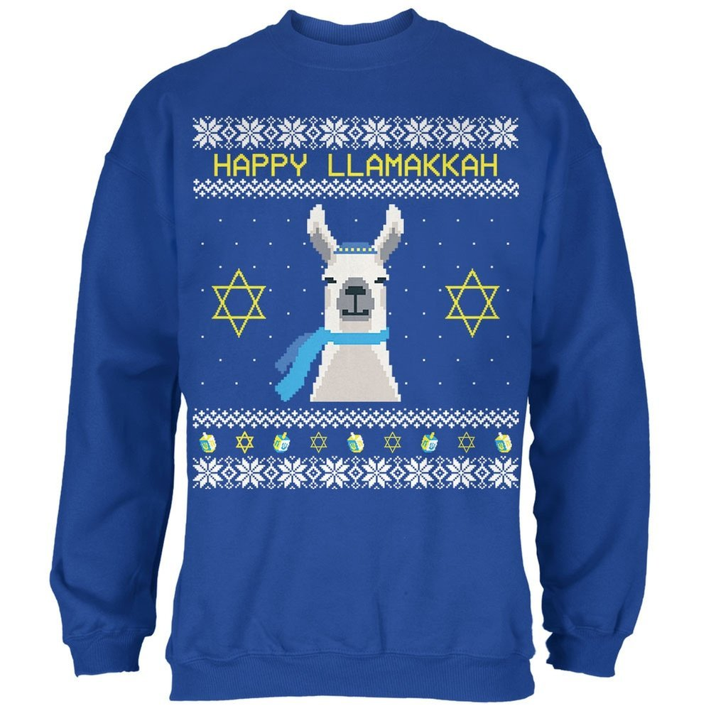 Llama Llamakkah Ugly Hanukkah Sweater Royal Adult Sweatshirt Animal World AW035830