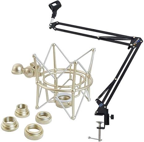 Mesa brazo de micrófono Keepdrum trípode + Multi de araña: Amazon ...