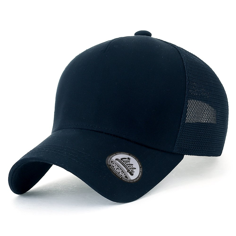 ililily Blank Front Mesh Back Baseball Cap Casual Strapback XL Trucker Hat Black
