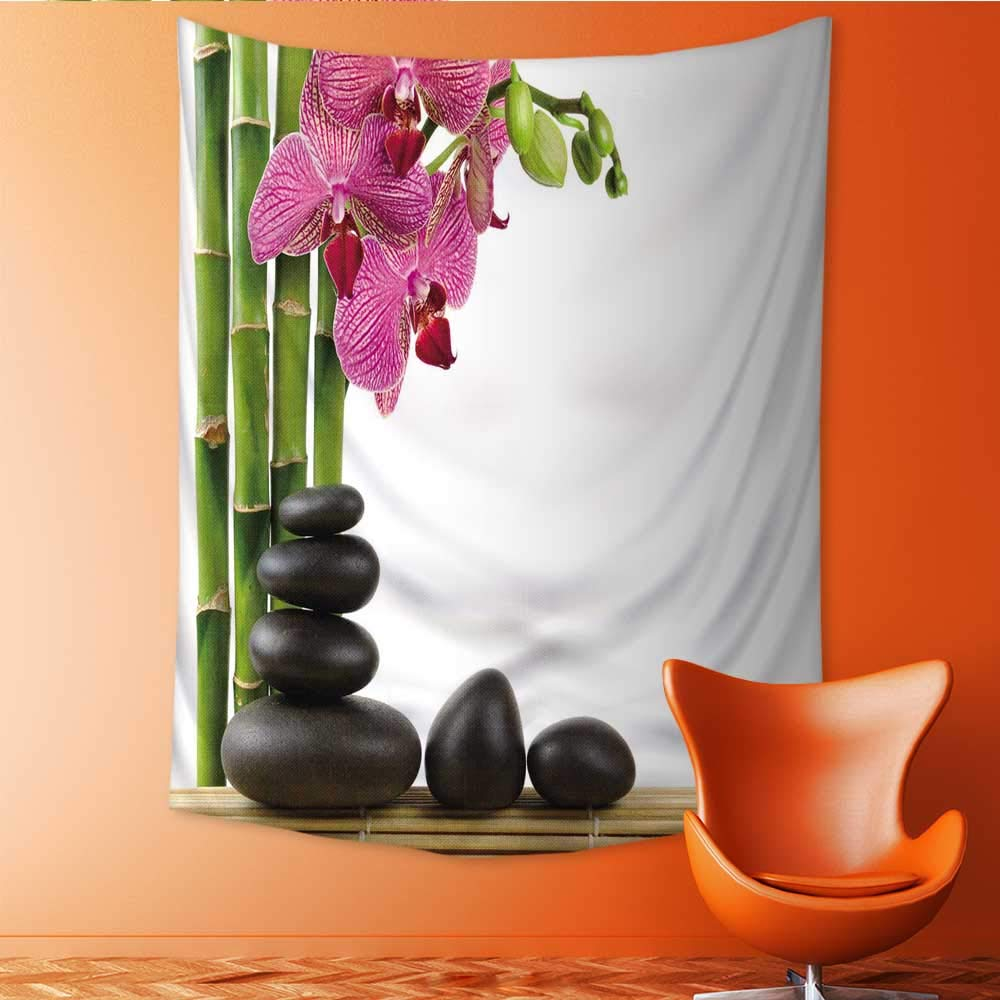 Auraisehome Vertical Version Tapestry spa Concept Zen Stones and Orchid Throw, Bed, Tapestry, or Yoga Blanket 40W x 60L INCH