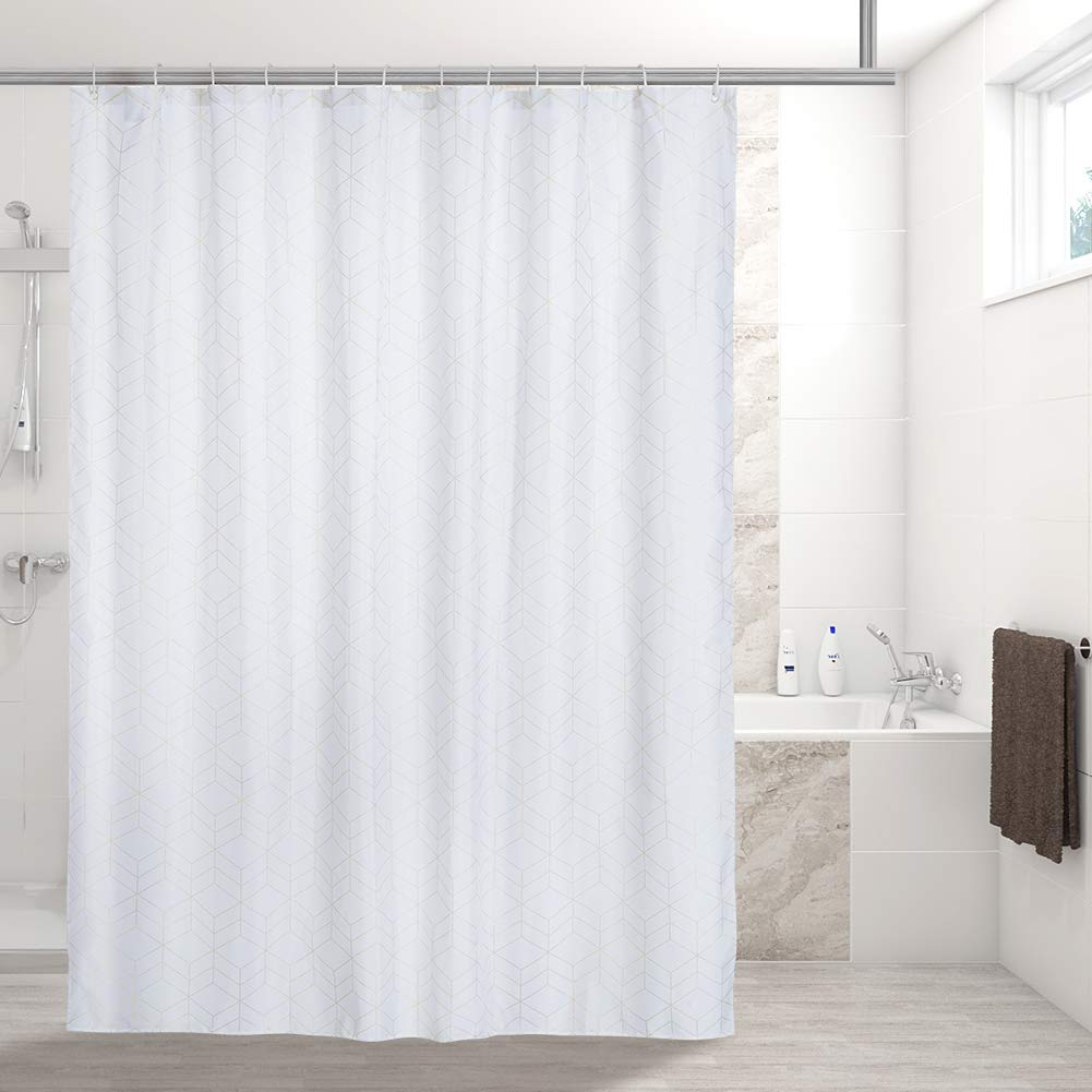 Newest Style 2019 Shower Curtain with Hooks Gold Foil Fabric 72 X 72 Inch
