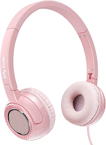 On Ear Headphones with Mic, Jelly Comb Portable Fold-Flat Wired Headphones for Kids, Teenagers, Adults Pink