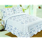 Stumix Luxury White and Blue Porcelain Pattern Reversible Quilt Set 3PC Set,Super Soft Bed Quilt Bedspread Bed Cover (King)