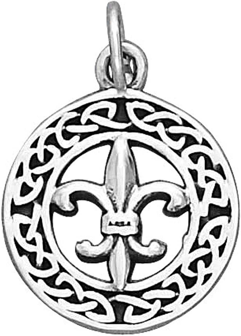 Sterling Silver Girls .8mm Round Celtic Wreath Pendant Necklace Fleur De Lis In Center