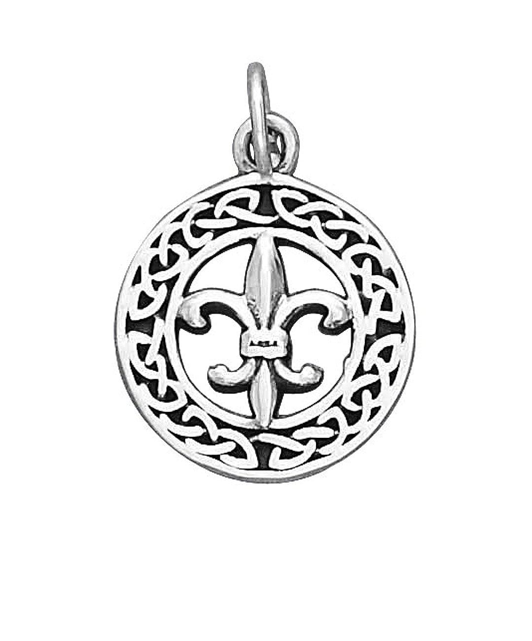 Sterling Silver Girls .8mm Round Celtic Wreath Pendant Necklace Fleur De Lis In Center