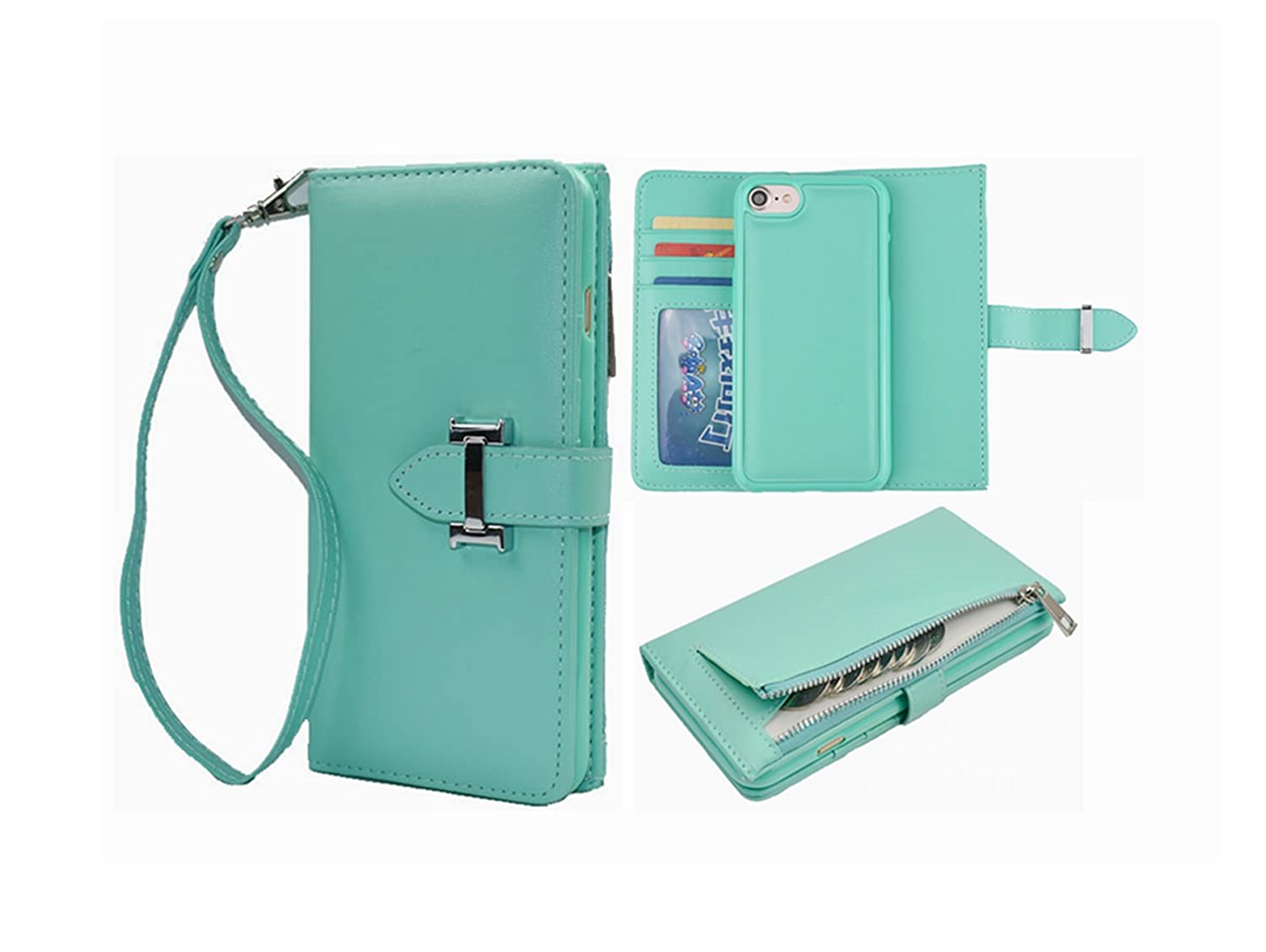 meet d64f3 4c41a iPhone 6S Detachable Case,iPhone 6 Wallet Case Hynice Zipper Wallet Purse  with Card Holder Strap Folio Flip PU Leather Magnetic Slim Cover for Women  ...