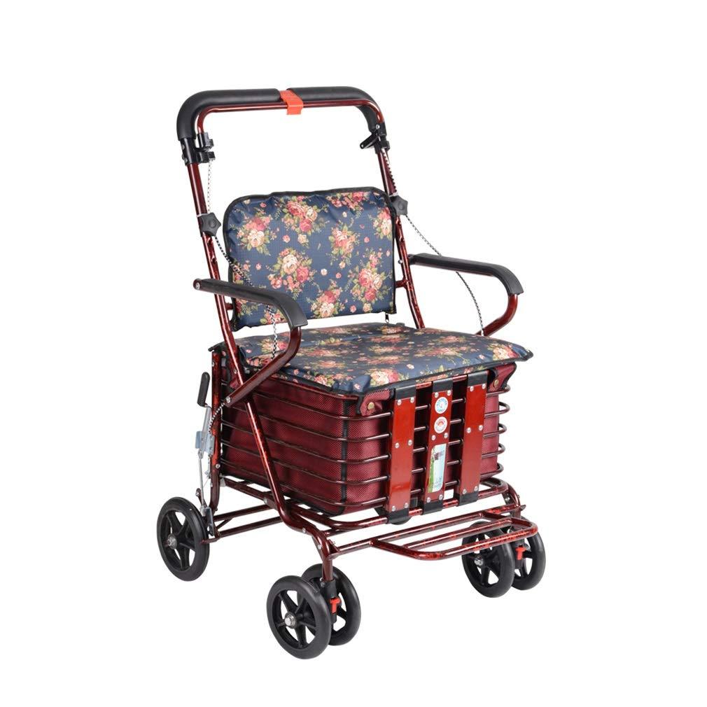 Rollator Walker Transport Chair Combo,Portable Rollator Walker with Seat with Lockable Brake oO (Size : Burgundy)