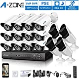 A-ZONE 16 Channel DVR 1080P Security Camera System W/12x HD-AHD 1080P Fixed Camera & 4x HD 1080P Varifocal Camera IR 2.8-12mm Lens Camera-Without HDD,Customizable Motion Detection
