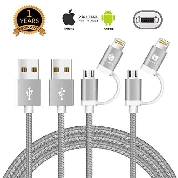[APPLE MFi CERTIFIED] [2 Pack] 2 in 1 Rapid Micro USB and iPhone Charging  Cable Compatible with iPhone Xs MAX XR X 8 8Plus iPad Samsung Kindle  Tablet,