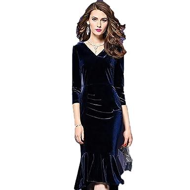 0d2309f17a Spring Summer Dress Women 2019 Vintage Mermaid Velvet Dress Sexy ...