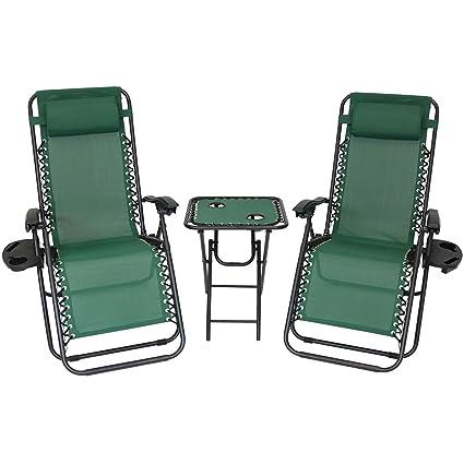 Amazon.com: sunnydaze Zero Gravity Muebles, elegir 2 sillas ...