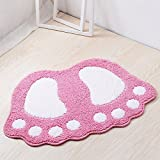 Jian Ya Na Non Slip Bath Toilet Mat Cute Big Feet Bathroom Shower Rugs Shaggy Carpet Absorbent Doormat Floor Mat Living Room Sofa Cushion Foot Pad Rug (19''x26'' (48x67CM), Pink)