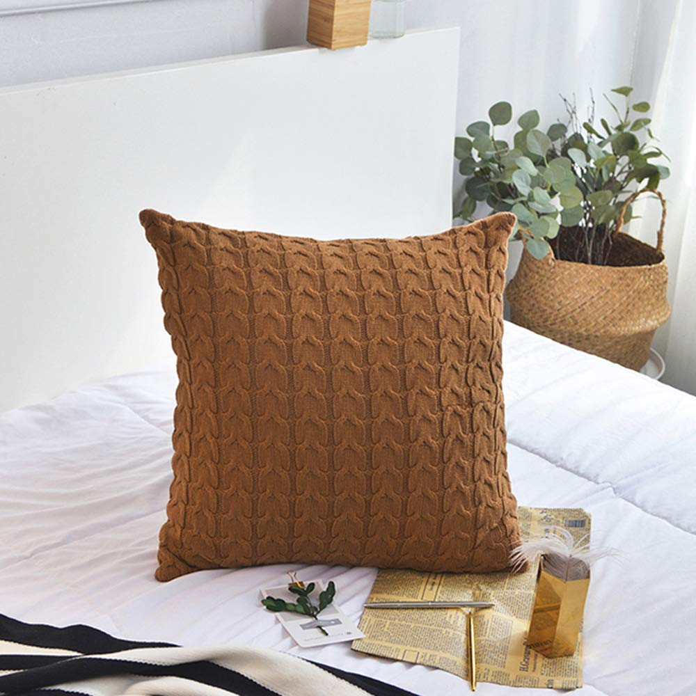 Mao ZE QU Solid Color Cotton Twisted Pattern Knit Detachable Pillow car Sofa Bed Pillow Cushion Window Cushion by Sofa pillow