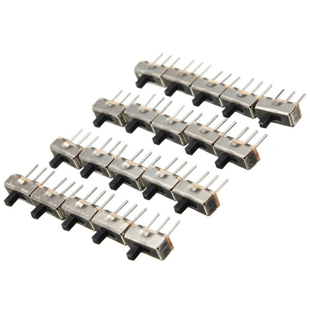 DAOKI 100pcs SS12D00G4 SPDT 1P2T 2 Position 3 Pin PCB Panel Vertical Slide Switch