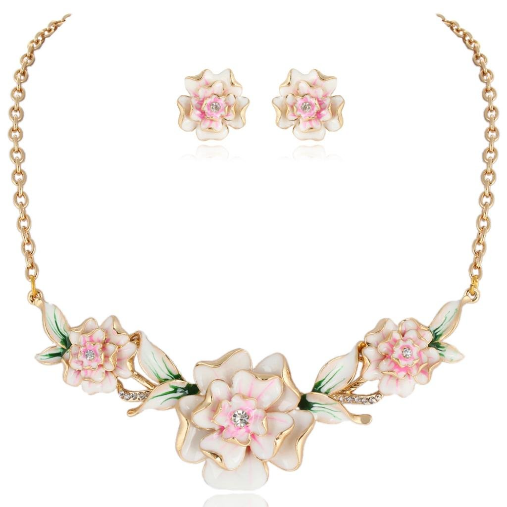 1950s Jewelry Styles and History EVER FAITH Womens Austrian Crystal Enamel 3 Peony Flowers Necklace Earrings Set Gold-Tone $22.99 AT vintagedancer.com
