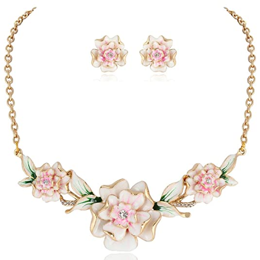 1940s Costume Jewelry: Necklaces, Earrings, Brooch, Bracelets EVER FAITH Womens Austrian Crystal Enamel 3 Peony Flowers Necklace Earrings Set Gold-Tone $22.99 AT vintagedancer.com