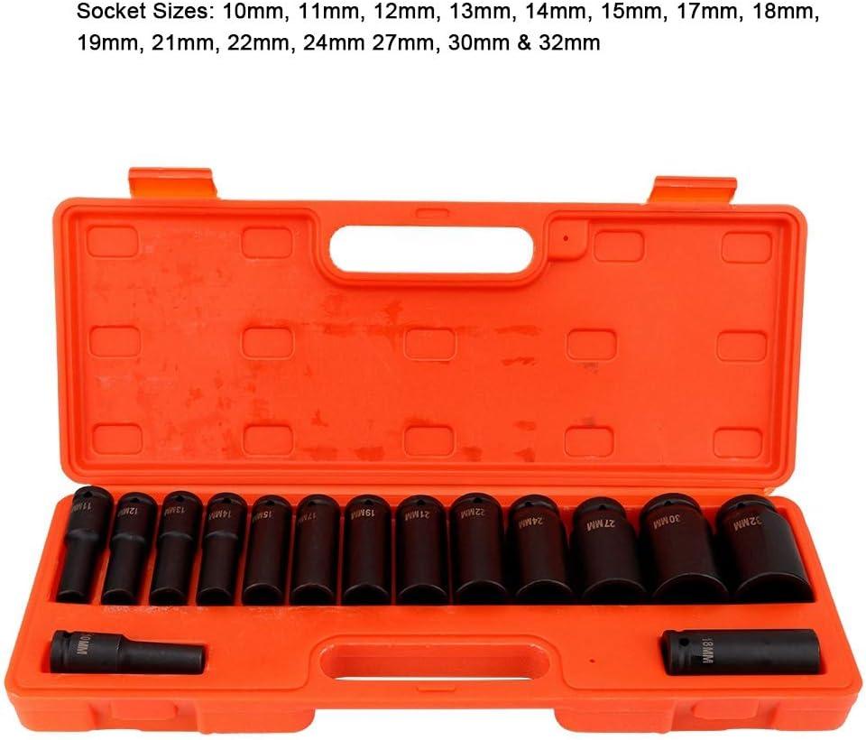 Juego de Llaves de Vaso Hexagonales 10/—32mm Adaptador para Llave de Carraca 15 Piezas Juego de Llaves de Vaso de 1//2