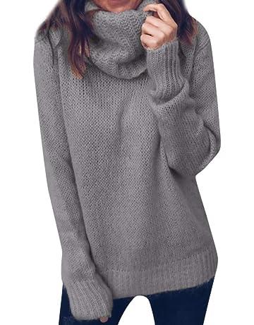 Cebbay Suéter de Las Mujeres Prendas de Punto Pullover Suelto Cuello Alto otoño Invierno Cálido Top