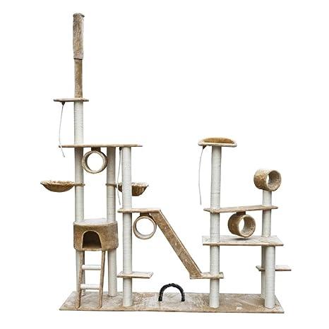 binzhoueushopping Rascador para Gatos Lujoso 230-260 cm Beige Felpa Gimnasio para Gatos,Tamaño