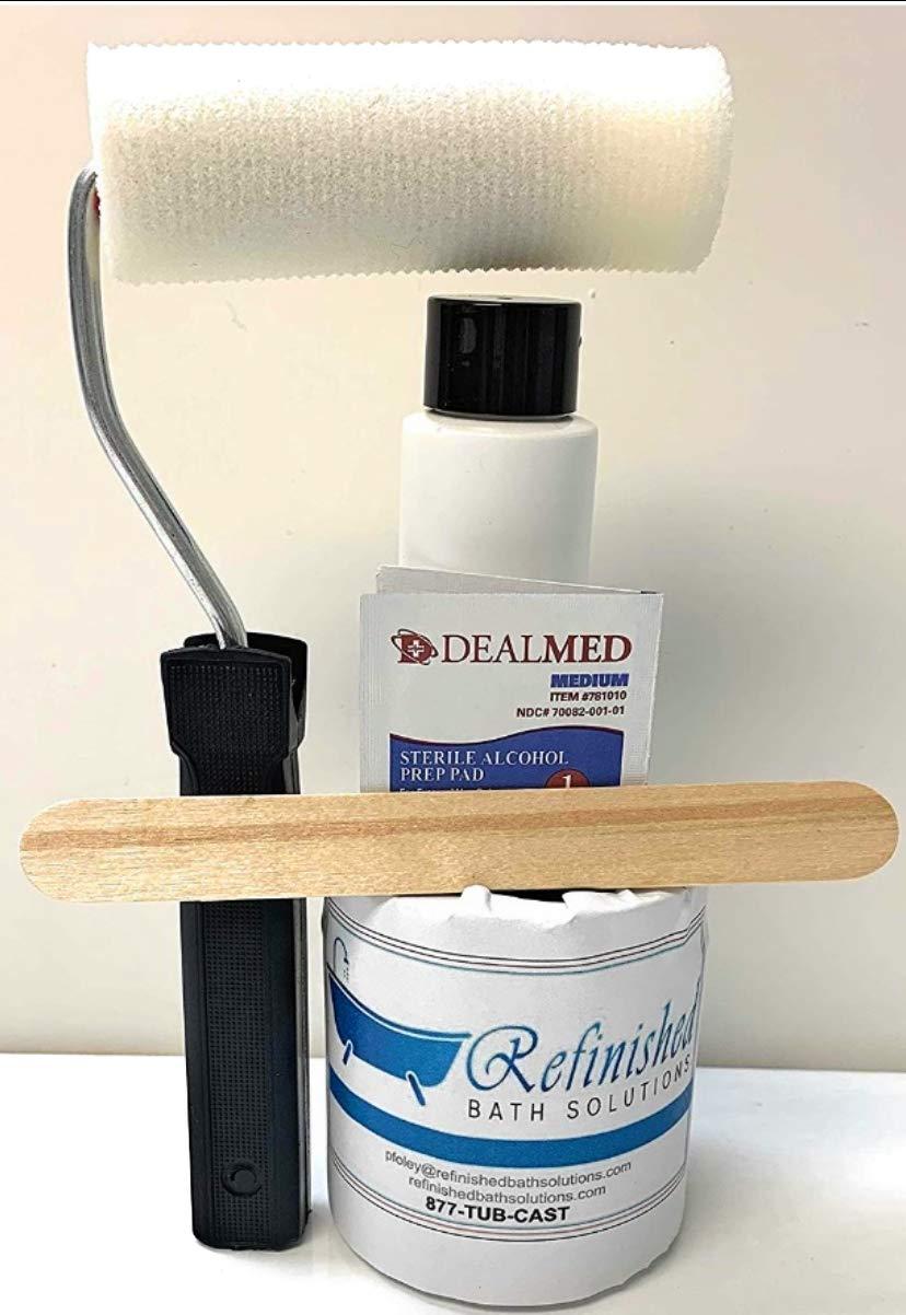 Ekopel 2K Non Slip Refinishing Kit - Odorless DIY Tub and Shower No Slip Kit - 20X Thicker Than Other Non Skid Coatings- No Peel Roll On Non Slip Coating (White) (American Standard White)