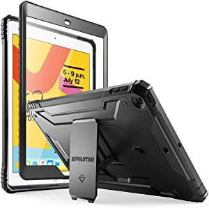 iPad 10.2 2019 Case, Poetic Full-Body Heavy Duty Shockproof Protective Cover with Kickstand, Built-in Screen Protector, Revolution, for Apple iPad 10.2 (2019 Release), Black