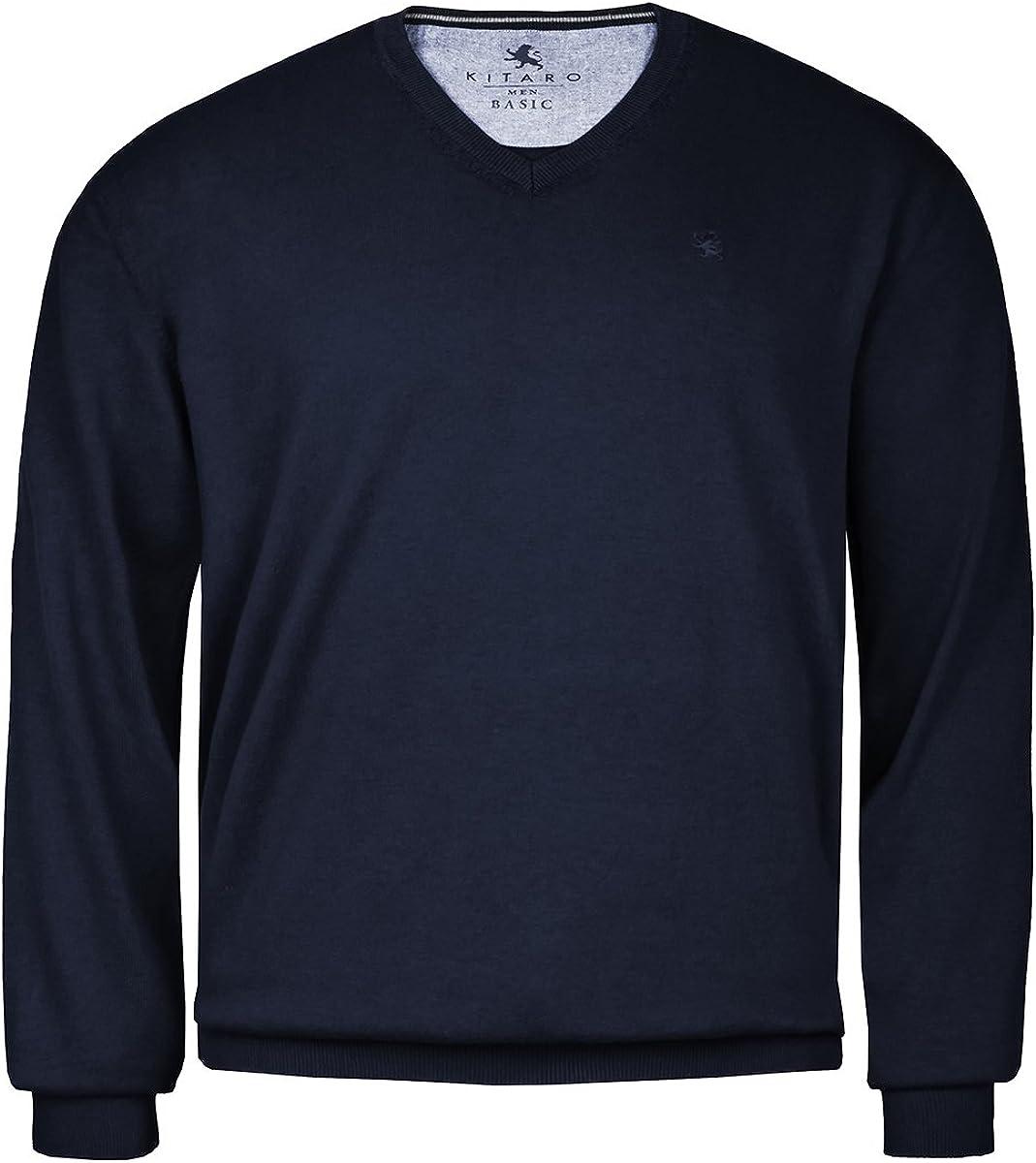 Kitaro Pullover Sweater Fine Knit Cotton Men/'s Long Sleeve V Neck Basic