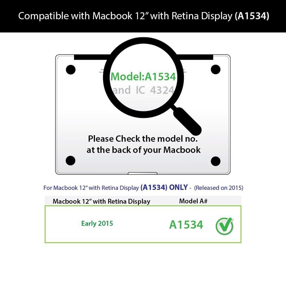 Coque MacBook 12 Retina L2W MacBook 12 pouces Plastic Hard Shell coque Housse pour Apple MacBook Ordinateur portable de 12 po avec affichage Retina A1534 Carte 38