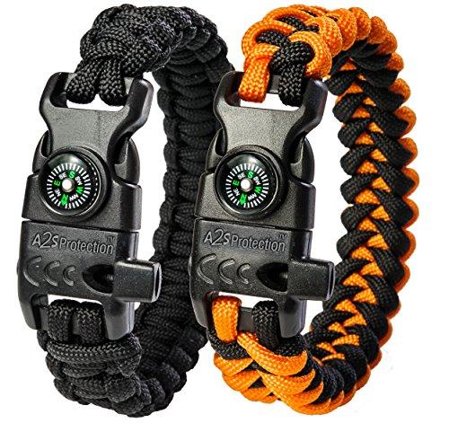 "A2S Protection Paracord Bracelet K2-Peak – Survival Gear Kit with Embedded Compass, Fire Starter, Emergency Knife & Whistle (Black / Orange 7.5"" for Kids)"