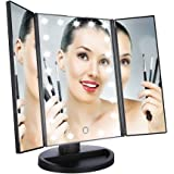 Easehold Led Lighted Vanity Mirror Make Up Tri-Fold with 21Pcs Lights 180 Degree Free Rotation Table Countertop Cosmetic Bathroom Mirror(Black)