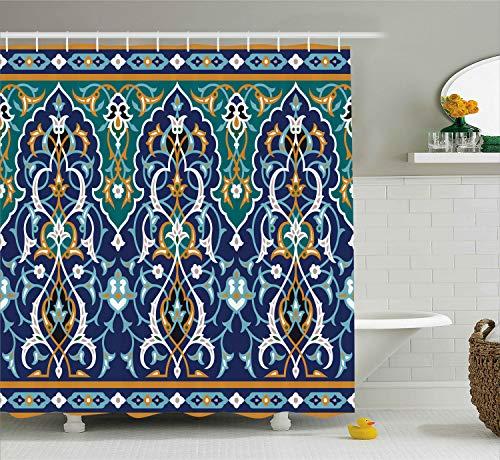 Ambesonne Moroccan Shower Curtain, Oriental Petals Hippie Vintage Mosaic Design, Cloth Fabric Bathroom Decor Set with Hooks, 75