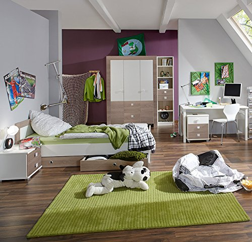 8tlg Kinderzimmer Eiche sägerau weiß Kleiderschrank Jugendbett & Nachttisch