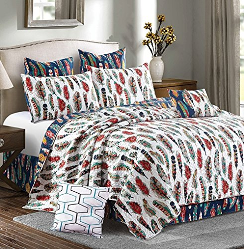 Virah Bella Southwestern Feathers 5pc Full Queen Quilt Set / Western Ranch (Ranch Quilt Set)