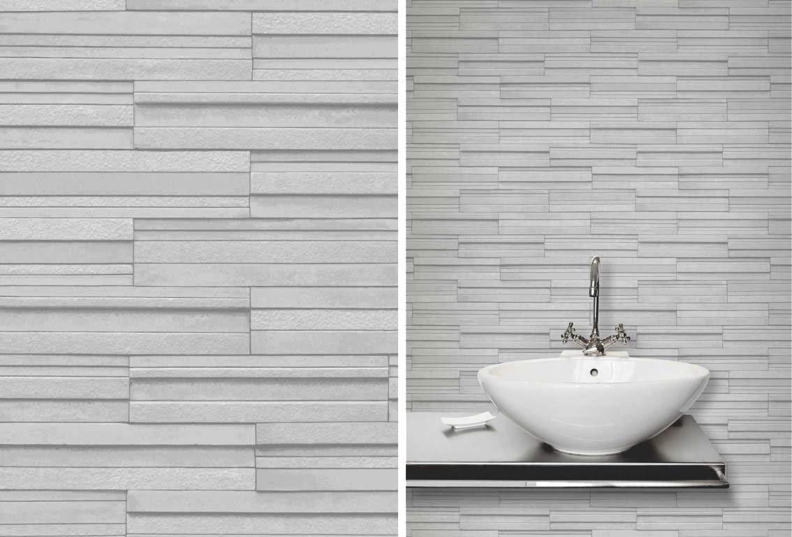 Ceramica Slate Tile Brick Effect Wallpaper Grey by Fine Decor ...